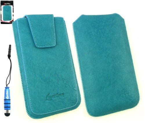 Emartbuy® Stylus Pack Für Asus Padfone Mini Classic Range Blau Luxury Pu-Leder-Slide In Pouch Hülle Tasche Hülle (Größe Xl) Mit Magnetische Klappe und Pull Tab Mechanism + Metallic Blau Mini Stylus + Screen Protector