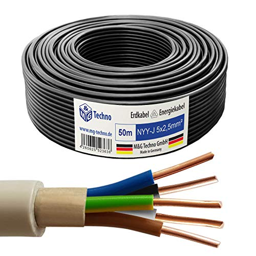 M&G Techno 50m NYY-J 5x2,5 mm² Erdkabel Elektro Strom Kabel Kupfer eindrähtig Made in Germany