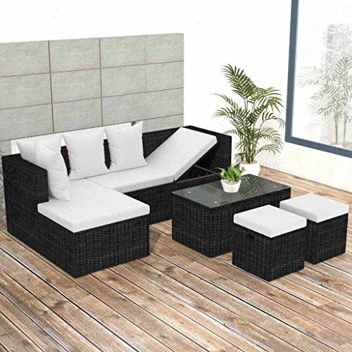 Lingjiushopping Ensemble canapés de jardin 12 pièces en polyrotin modulaire Noir Matériau : PE rotin + Structure en acier à revêtement poudre + table en verre trempé Set de meubles d'extérieur