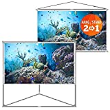 JaeilPLM 100-Inch 2-in-1 Portable Projector Screen, Outdoor Indoor Compatible with Triangle Stand or Hanging Design Movie Projection for Home Theater, Gaming, Office