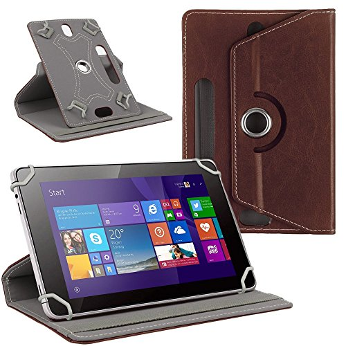 NAUC Tablet Tasche Hülle für CSL Panther Tab 10 Schutzhülle Cover Hülle 360° Universal, Farben:Braun