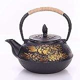 SUZYN Tetera de Juegos de té de té Ollas de hierro fundido tetera de té ollas de hierro pintado de la pared interior de la...