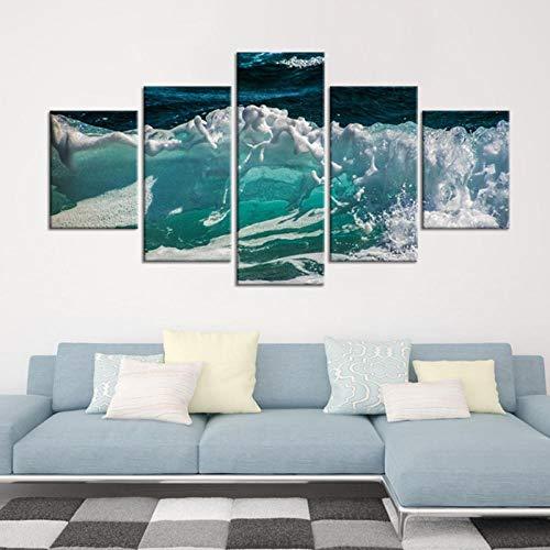 IGZAKER Nessuna Cornice HD Stampa Poster Foto su Tela 5 Pezzi Belle Onde del Mare Fiore Paesaggio Marino Dipinti Decorazione Camera Moderna Wall Art @ 40x60,40x80,40x100cm_A