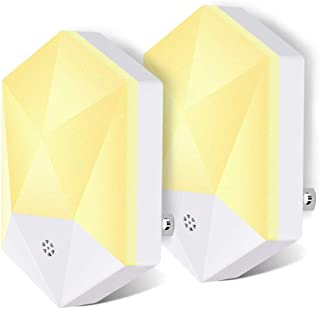 JXSEN Plug-in Night Light,Warm White LED Night Lights with Auto Dusk to Dawn Sensor for Hallway,Bedroom,Kids Room,Kitchen,Bathroom,Stairway,Energy Efficient,Compact(2 Packs)