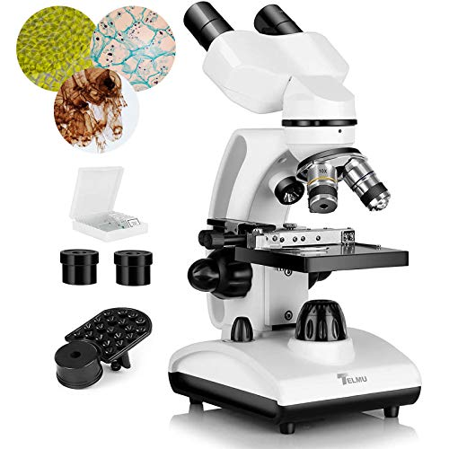 TELMU 40X-1000X Microscope Adjustable Dual LED Illumination, Compound Binocular Microscopes Upgrade Vernier Scale, w/Phone Adapter for Teaching, Laboratory and Hobbyist Applications