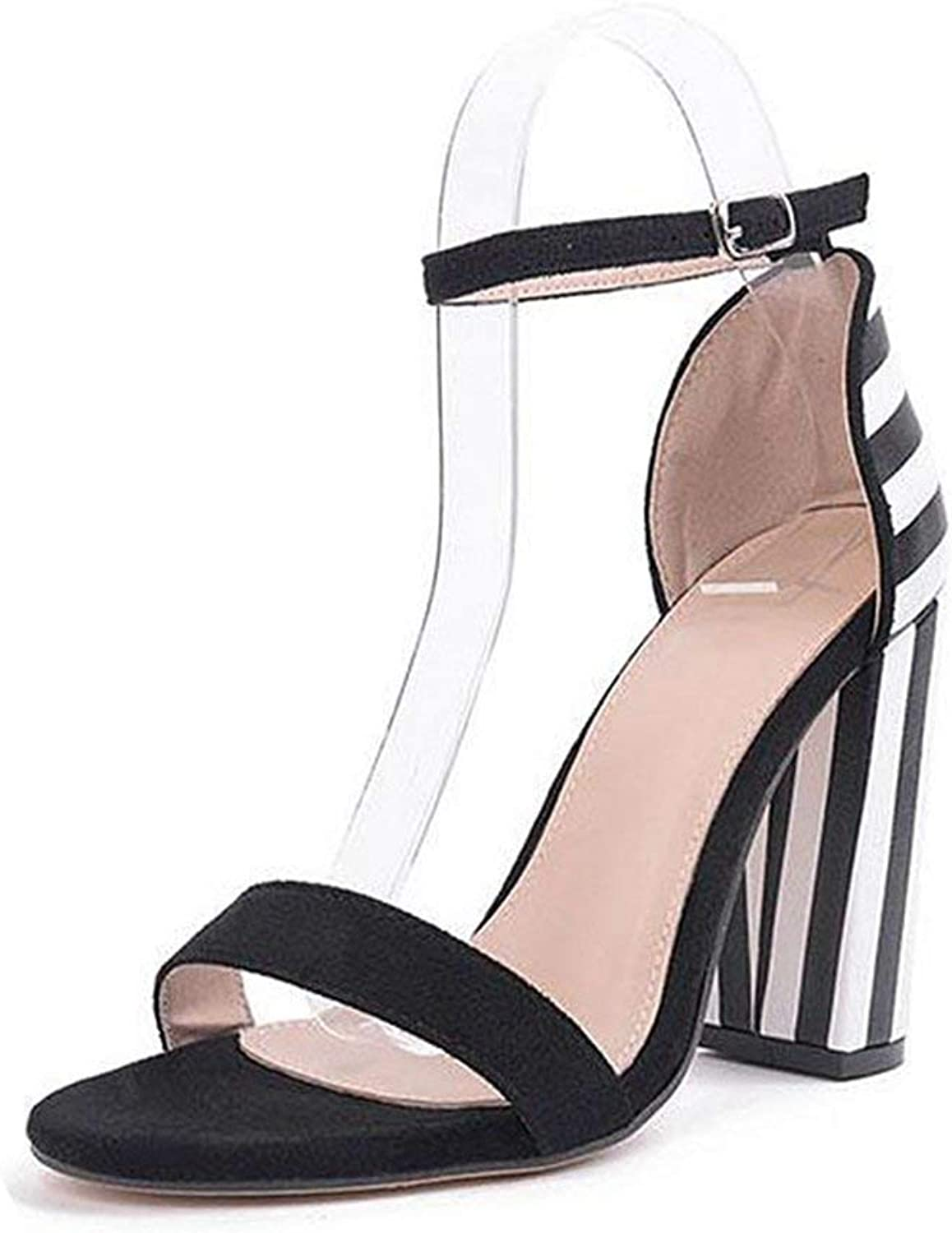 Fashion shoesbox Women's Strappy Chunky Block High Heel Snadals Wedding Party Simple Classic Pump Heeled shoes