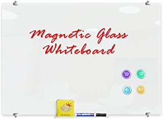 ZHIDIAN Glass Dry Erase Board, 4' x 8' Wall Mount Magnetic Ultra White Board Frameless with 1 Tray, 4 Markers, 1 Eraser, 4 Magnets