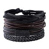 University Trendz Black Leather Handmade Woven Bracelet for Men & Women(Set of 4)(Black)