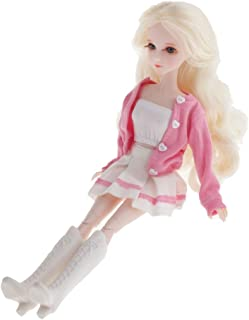 Perfeclan 1/6 Ball Jointed Doll with Wavy Light Golden Hair, 3D Eyes and Lashes, Articulated Poseable Dody Pink Suit