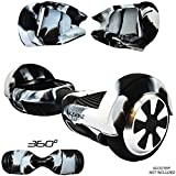 """Siliskinz® 360 Hoverboard Silicone Jelly Housse - pour 6.5""""Swegway 2 Wheel Smart Scooter (Blanc/Noir)"""
