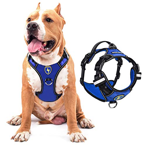 MeyKoo Dog Harness No Pull Soft Breathable,Easy Put on &Off No Choke Control Training Handle Outdoor Walk Joyride,Adjustable Reflective Padded Leash Vest Harness for Small Medium Large Dogs (L, Blue)
