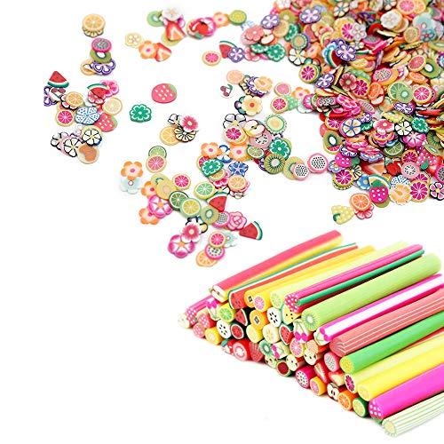 100 pezzi 3D Nail Art Fimo Canes Argilla Fette di Frutta Unghie Adesivi, Più 1000 Pezzi Slice Nail Supplies Perline Acrilico Nail Decals Manicure Stazione Accessori per Nail Design