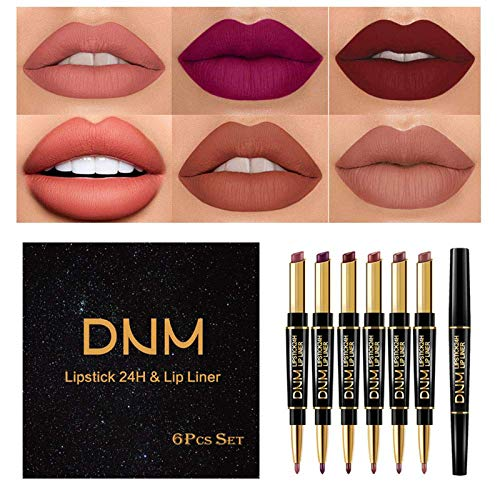 Lipstick Lip Liner 2in1 Set, 6 Colors Double Heads Waterproof Long Lasting Lipstick Matte Moist Lipliner Pen Cosmetics Kit Not Stick Cup Lip Gloss Lip Glaze for Women, Girl Makeup