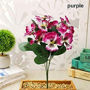 Silk Flower Arrangements Floral Decor Simulation Artificial Silk Bouquet Pansy Flower Plant Bunch Floral Decor - (Color:Purple)