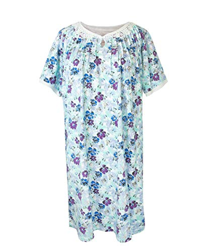 Womens Adaptive Hospital Gowns - Open Back Nightgown - Blooming Garden MED