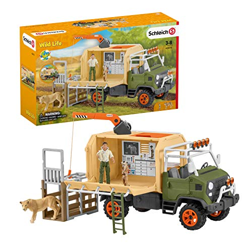 Schleich Wild Life 10-piece Animal Rescue Toy Truck with Ranger and Animals Playset for Kids Ages 3-8 Multicolore  11 x 39 x 23 cm