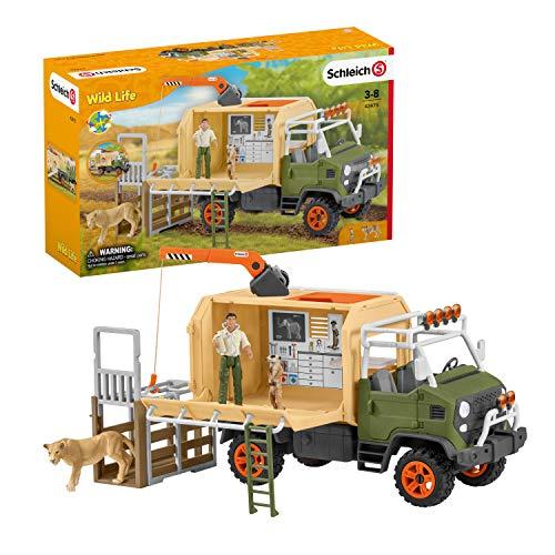 Schleich 42475 Wild Life Spielset - Großer Truck Tierrettung, Spielzeug ab 3 Jahren