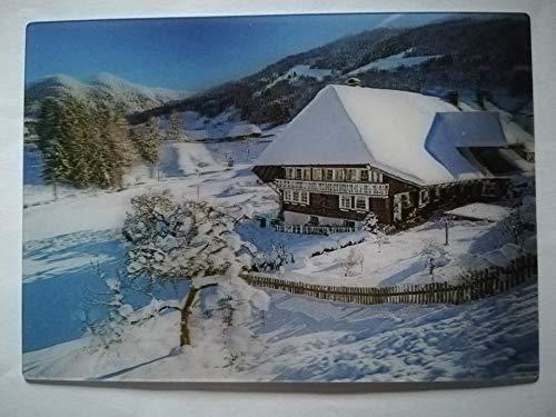 3 D Ansichtskarte Winter, Schnee, Schwarzwaldhaus, Postkarte Wackelkarte Hologrammkarte, Schwarzwald