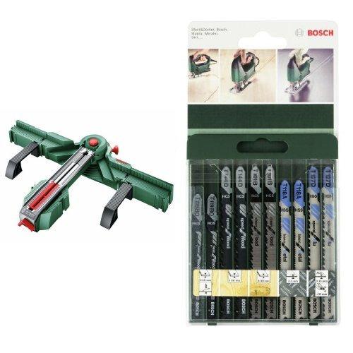 Bosch - PLS 300 – Estación de serrado + 2 609 256 746 - Juego de hojas de sierra de calar de 10 piezas vástago en T
