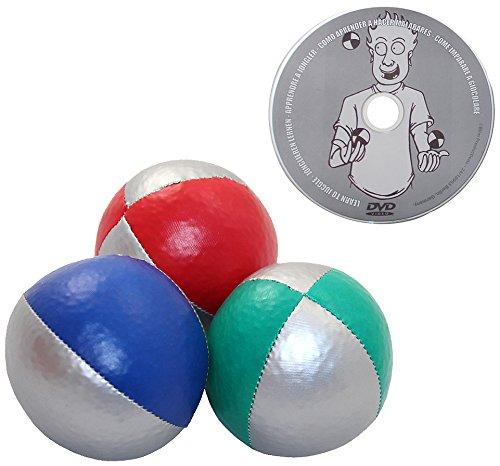 Juggle Dream - Pack de 3 x Bolas de Malabares Profesionales y DVD Aprender malabarismo, Color Rojo/Plata, Azul/Plata, Verde/Plata (AMPAC-015/ST)