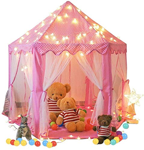 Springbuds Princess Castle Play Tent for Girls Large Kids Play Tents Hexagon Playhouse with Star Lights Toys for Children Indoor Outdoor Games, 55'' x 53'' (DxH) (Pink)