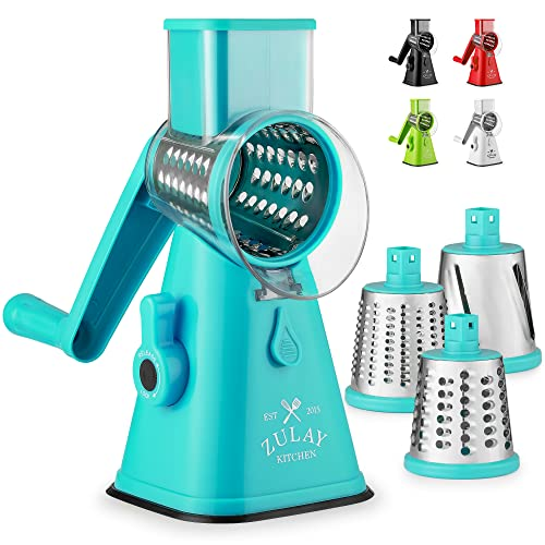 Zulay Kitchen Manual Rotary Cheese Grater with Handle - Round Cheese Shredder Grater with 3 Interchangeable Stainless Steel Blades - Easy To Use Fruit, Nut, and Vegetable Grater (Light Blue)