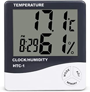 BAIYI Indoor Digital Temperature Humidity Monitor, Easy to Read with Large LCD Display for Home Office Indoor Living (White)