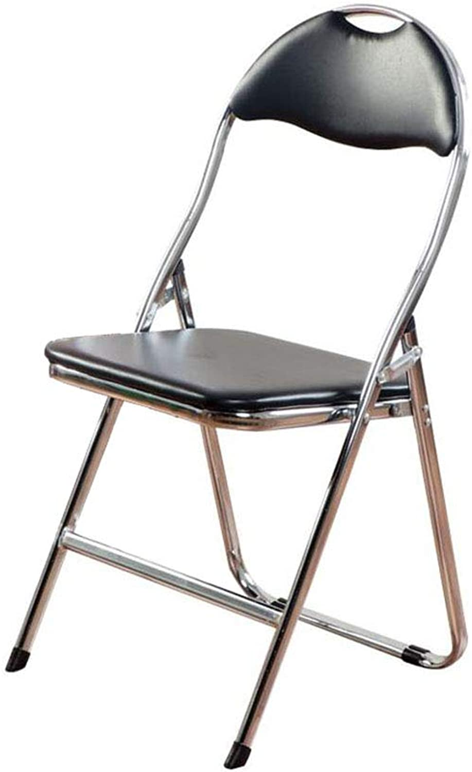 Folding Chair Desk Chair Office Reception Black Padded Steel+Faux Leather