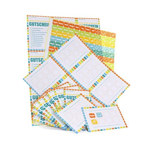 Belohnungssystem für Kinder (27 Bonuskarten, 216 Lobsticker) - Aufkleber mit 12 Motiven, Belohnungen zum Ankreuzen