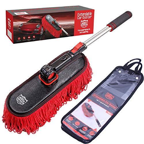 RIDE KINGS Car Duster Brush with Extendable Telescoping Handle to Remove Dust Pollen from Exterior Interior of Car Truck Van Pickup RV Motorcycle, Non-Scratch, Large Mop Duster Head, Wax Cotton Hair