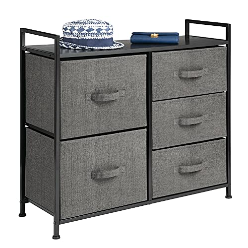 mDesign Storage Dresser Furniture Unit - Large Standing Organizer Chest for Bedroom, Office, Living Room, and Closet - 5 Drawer Removable Fabric Bins - Charcoal Gray/Black