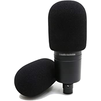 YOUSHARES Audiotechnica AT2020 Foam Mic Windscreen - 2 Pack Large Size Microphone Cover Pop Filter for Audio Technica AT2020 and Other Large Microphones (Black)