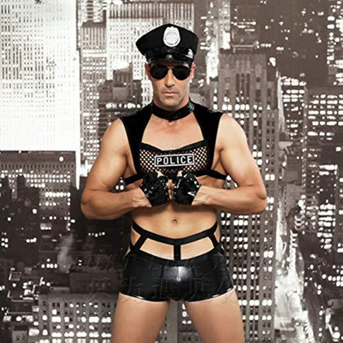 Bwer Disfraces Sexis para Hombre, Disfraz de Oficial de policía Sexy erótico, Disfraz de policía Elegante, Disfraz de Halloween para Hombre, Uniformes de policía