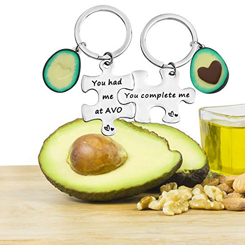 Avocado Matching Gift Valentines Day Gift You Had Me At Avo You Complete Me Keychain Set Gift for Couple BFF Gift (You Complete Me Keychain)