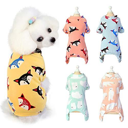 AGQG Haustier-Kleidung, Bequemes Hundehemd Dame/Gentleman-Art für Teddy, Chihuahua, Kleiner Hund Kleidung Katzenfuchsbär bedruckter Overall