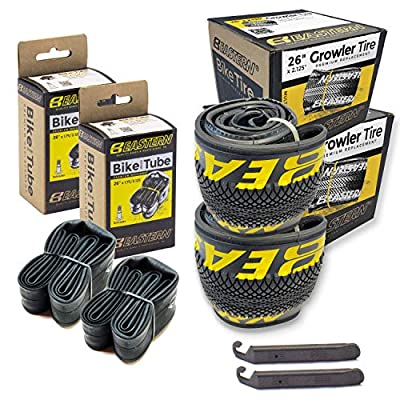 """Eastern Bikes 26"""" Tire Repair Kit with or Without Tubes (Yellow Logo, 2 Pack with Tubes)"""