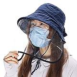 Comhats Siggi - Sombrero plegable para mujer, con visera ancha y correa para la barbilla (7 a 14 días para entregarla), Primavera-Verano, Mujer, color (sombrero + protector facial desmontable) 89009_azul marino, tamaño 85