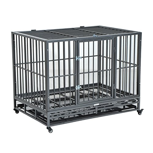 PawHut 42' Heavy Duty Steel Dog Crate Kennel Pet Cage w/Wheels - Grey Vein