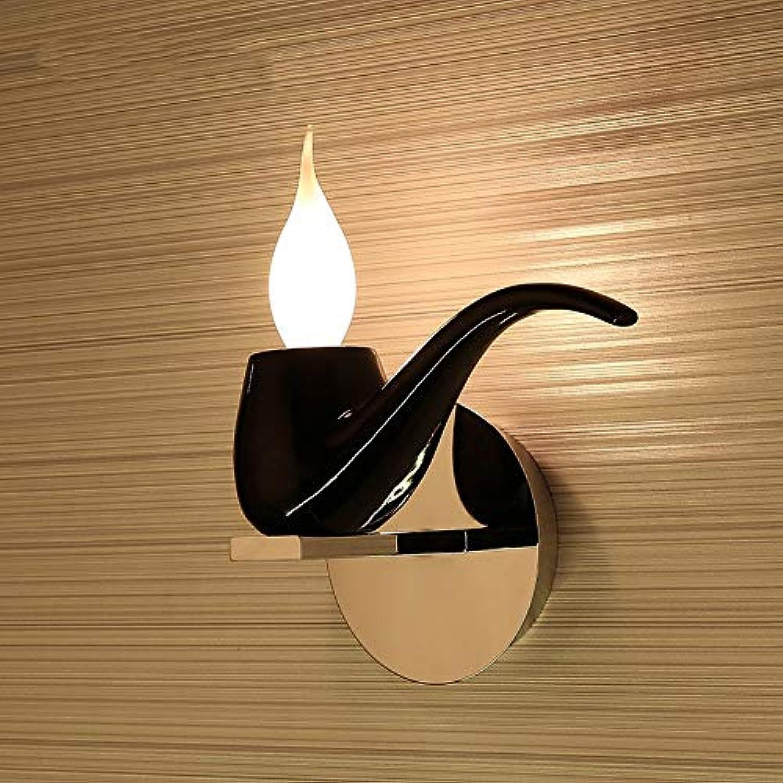 Wapipey Amerikanische postmoderne kreative Harz-Tabak-Rohr-geformte Wandlampen-Innenmoderne multi Farbwandleuchten für Hausbeleuchtung E14 (Farbe   schwarz)