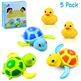 Yojoloin Baby Bathing Bath Vasca da Bagno Pool Toy, Baby Bathing Clockwork Turtle Anatra Bath Toys for Bambini ,Toddlers Boys Girls(5 Pezzi)
