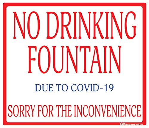 'No Drinking Fountain' Gym COVID-19 (Coronavirus) Durable Vinyl Decal- (Various Sizes Available) Sign by Graphical Warehouse- Safety and Security Signage (10.8x9.25', Red/White/Blue)