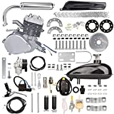 Yaheeda 80CC Bicycle Engine Kit,Motorized Upgrade Bike 2-Stroke Conversion Kit,DIY Petrol Gas Engine Bicycle Motor Kit Set for 24', 26' and 28' Bikes (Silver)