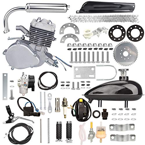 Yaheeda 80CC Bicycle Engine Kit,Motorized Upgrade Bike 2-Stroke Conversion Kit,DIY Petrol Gas Engine Bicycle Motor Kit Set for 26',28' Bikes (Silver)