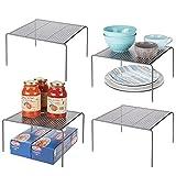 mDesign Estantes de cocina – Soportes para platos autónomos de metal –...