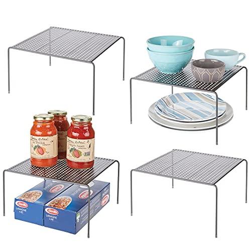 mDesign Mensole porta piatti impilabili per la cucina – Scaffale per stoviglie antiscivolo in metallo – Scolapiatti da appoggio per tazzine e utensili – Set da 4 – grafite