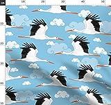Vögel, Japan, Tier, Himmel, Wolke, Kran, Storch Stoffe -