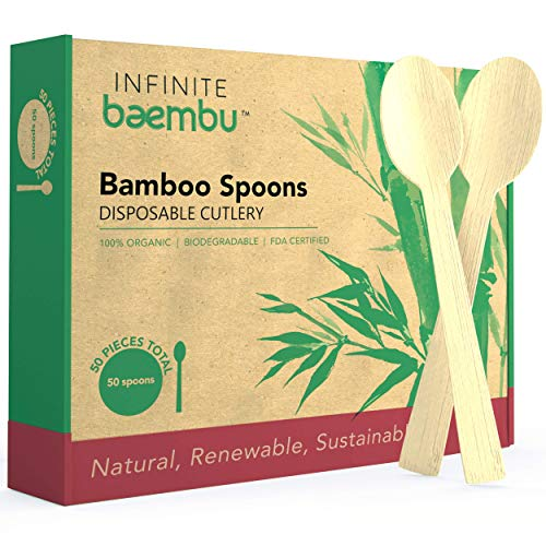 50 Piece Bamboo Spoon Set - Genuine 100% Bamboo Spoons | Plastic-Free Packaging | Compostable Spoons | Bamboo Spoons Disposable | Best Eco Alternative to Wood Spoons & Plastic Spoons | 6.75' Utensils