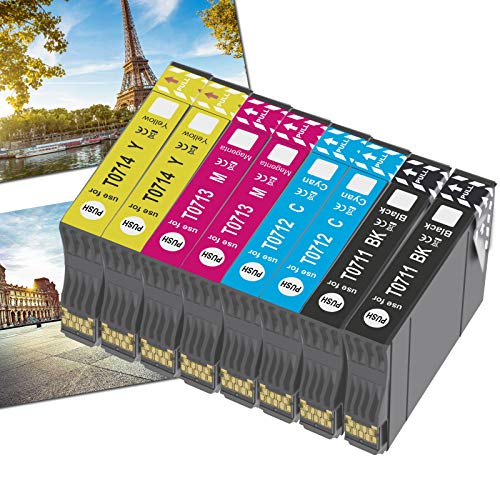 OGOUGUAN T0715 - Cartucho de tinta compatible con Epson T0711, T0712, T0713, T0714, con Epson Stylus SX200, SX215, SX218, SX400, SX415 SX510W, SX515W, DX4450, DX5050, DX6000 y DX8450(8pcs)