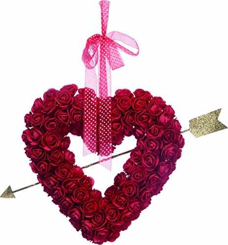 Ten Waterloo Valentine's Day Heart Wreath with Roses 13.25 Inches - Glittered Gold Cupid's Arrow and...