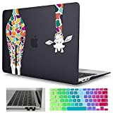 Mektron MacBook Air 13.3 inch Case 2010-2017 Release A1466 A1369, Matte Black Colorful Giraffe Hard Laptop Case Shell & Keyboard Cover & Dust Plug